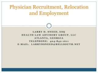 Physician Recruitment, Relocation and Employment