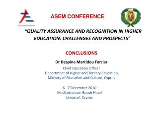 """QUALITY ASSURANCE AND RECOGNITION IN HIGHER EDUCATION: CHALLENGES AND PROSPECTS"""
