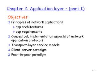 Chapter 2: Application layer – (part I)