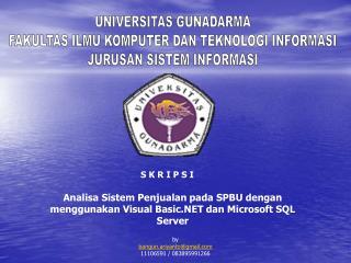 Analisa Sistem Penjualan pada SPBU dengan  menggunakan Visual Basic.NET dan Microsoft SQL Server