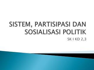 SISTEM, PARTISIPASI DAN SOSIALISASI POLITIK