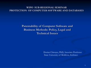 WIPO  SUB-REGIONAL SEMINAR PROTECTION  OF COMPUTER SOFTWARE AND DATABASES