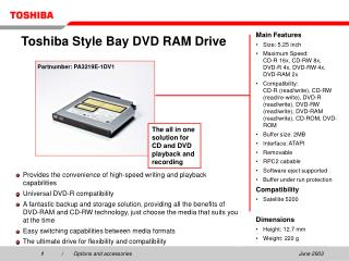 Toshiba Style Bay DVD RAM Drive