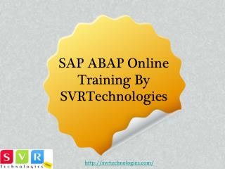 SAP ABAP Online Training By SVRTechnologies