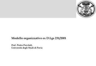 Modello organizzativo ex D.Lgs 231