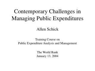 Contemporary Challenges in Managing Public Expenditures