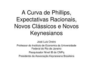 A Curva de Phillips, Expectativas Racionais, Novos Clássicos e Novos Keynesianos