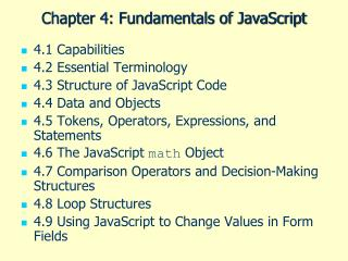Chapter 4: Fundamentals of JavaScript