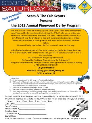 Sears & The Cub Scouts Present  the 2012 Annual Pinewood Derby Program