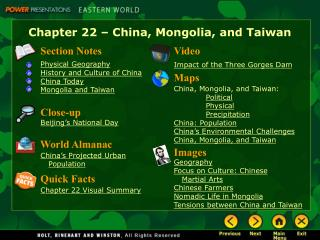Chapter 22 – China, Mongolia, and Taiwan