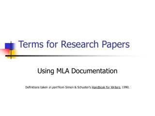 Terms for Research Papers