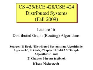 Lecture 16 Distributed Graph (Routing) Algorithms