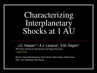 Characterizing Interplanetary Shocks at 1 AU
