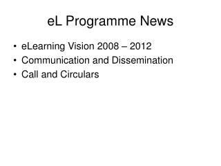 eL Programme News
