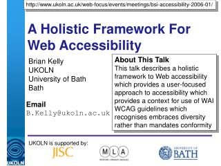 A Holistic Framework For Web Accessibility