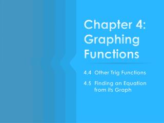 Chapter 4: Graphing  Functions