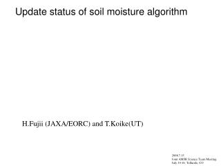 Update status of soil moisture algorithm