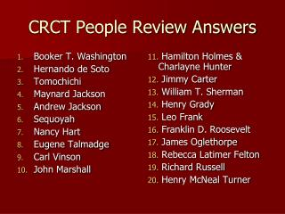 CRCT People Review Answers