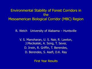 Environmental Stability of Forest Corridors in the  Mesoamerican Biological Corridor (MBC) Region