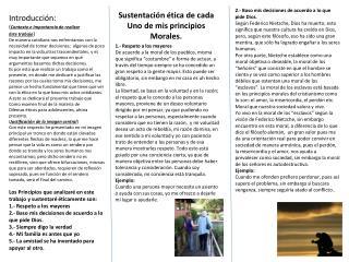 Sustentación ética de cada Uno de mis principios Morales.