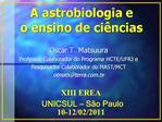 A astrobiologia e  o ensino de ci ncias