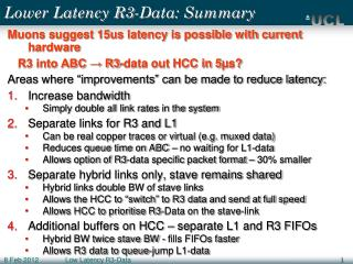 Lower Latency R3-Data: Summary