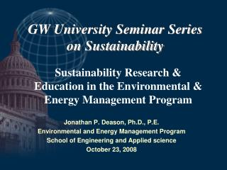 GW University Seminar Series on Sustainability