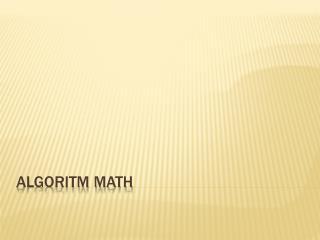 Algoritm Math