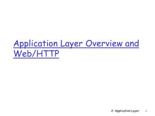 Application Layer Overview and Web/HTTP