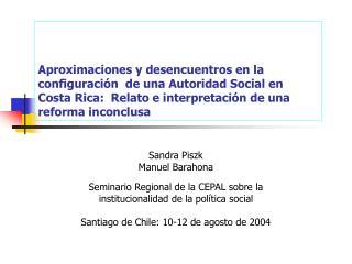 Sandra Piszk Manuel Barahona Seminario Regional de la CEPAL sobre  la