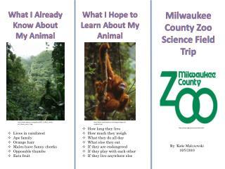 Milwaukee County Zoo Science Field Trip