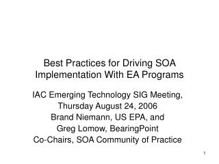 Best Practices for Driving SOA Implementation With EA Programs