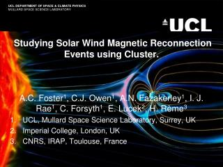 Studying Solar Wind Magnetic Reconnection Events using Cluster.