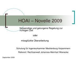 HOAI   Novelle 2009