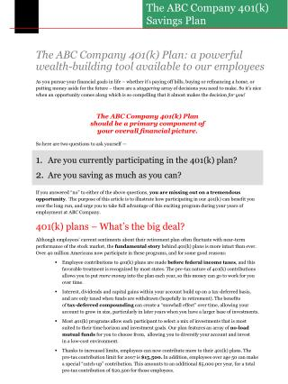 The ABC Company 401(k) Plan: a powerful wealth-building tool available to our employees