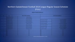 Northern Saskatchewan Football 2014 League Regular Season Schedule (FULL)