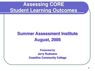 Assessing CORE Student Learning Outcomes