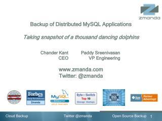 Backup of Distributed MySQL Applications