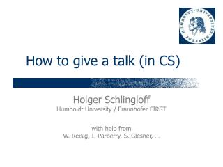 How to give a talk (in CS)