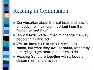 Reading in Communion