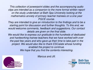 Marcus Witt and Jill Mansergh School of Education Bath Spa University