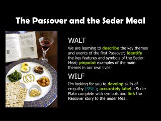 The Passover and the Seder Meal