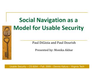 Social Navigation as a Model for Usable Security