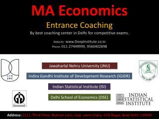 M.A. Economics Entrance Exam India