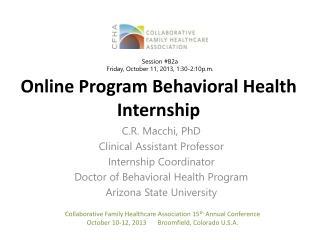 Online Program Behavioral Health Internship