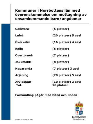 Kommuner i Norrbottens län med överenskommelse om mottagning av ensamkommande barn/ungdomar