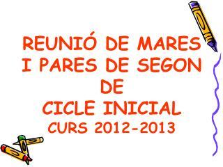 REUNIÓ DE MARES I PARES DE SEGON DE  CICLE INICIAL CURS 2012-2013