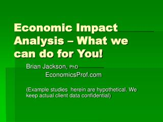 Economic Impact Analysis   What we can do for You