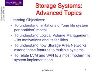 Storage Systems: Advanced Topics