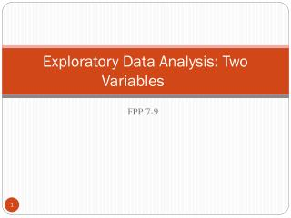Exploratory Data Analysis: Two Variables